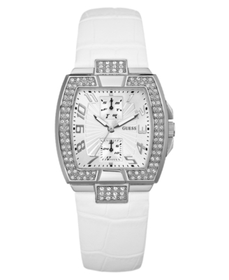 GUESS Watch, Women's White Leather Strap U11555L2