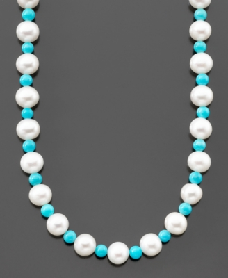 14k Gold Cultured Freshwater Pearl & Turquoise Strand Necklace