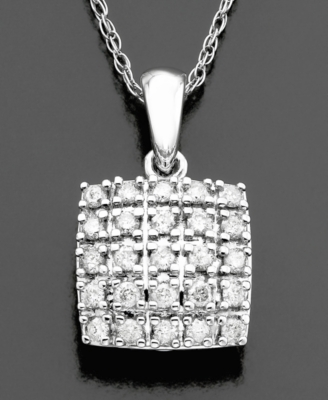 14k White Gold Diamond Square Pendant (1/4 ct. t.w.)
