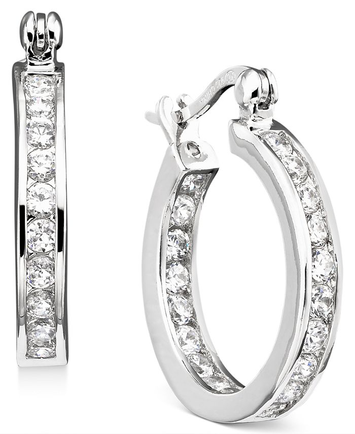 Giani Bernini - Cubic Zirconia Inside and Out Hoop Earrings in 18k Rose Gold-Plated Sterling Silver