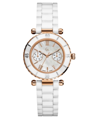 GUESS Collection Women's White Ceramic Bracelet Watch