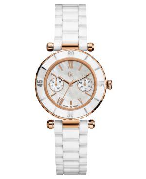 Gc Swiss Made Timepieces Watch, Women's White Ceramic Bracelet G42004L1