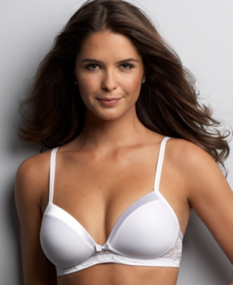 "Warner's® ""Satin Tuxedo with Lace"" Wireless Bra"