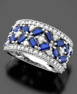 14k White Gold Sapphire (1-1/4 ct. t.w.) & Diamond (5/8 ct. t.w.) Ring