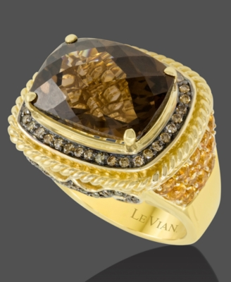 Le Vian 14k Gold Chocolate Quartz (10-3/4 ct. t.w.), Citrine (1-2/5 ct. t.w.) and Chocolate Diamond (3/4 ct. t.w.) Big Stone Ring
