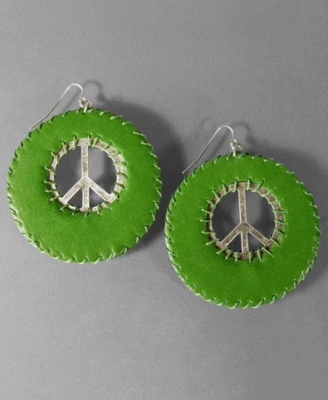 Jessica Simpson Green Leather Peace Earrings