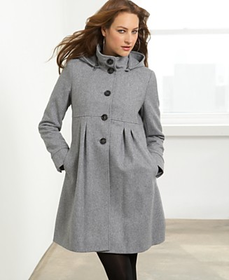 DKNY Wool Coat, Hooded A-Line - Customers' Top Rated Coats - Women's  - Macy's :  wool womens macys pleats