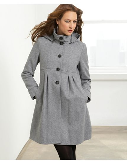 DKNY Wool Coat, Hooded A-Line
