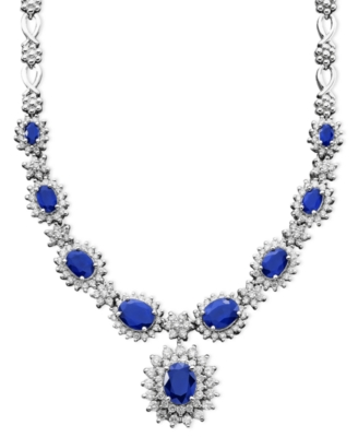 14k White Gold Sapphire (4-3/8 ct. t.w.) & Diamond (2-1/3 ct. t.w.) Necklace