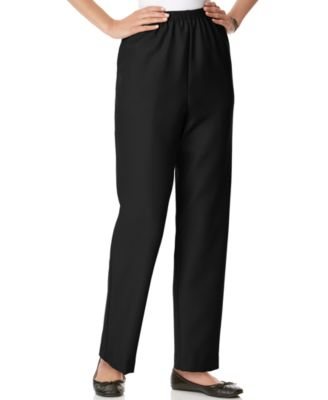 Image of Alfred Dunner Textured Pull-On Straight-Leg Pants