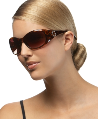 GUESS? Oval Sunglasses with Rhinestone Logo