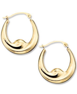14k Gold Hoop Earrings, Swirl