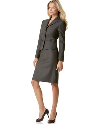 Tahari by ASL Belted Jacket and Skirt Suit