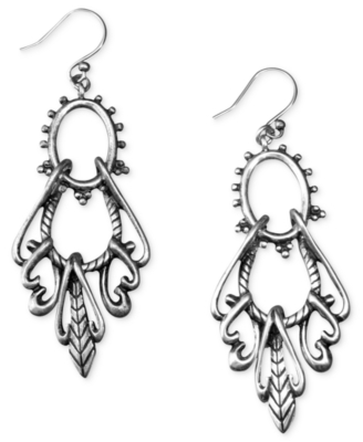 Lucky Brand Earrings, Silvertone Open Drop