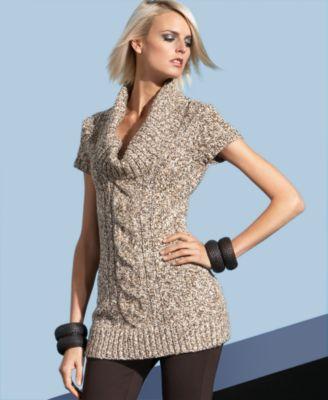 Inc international concepts sweater short sleeve cowl neck tunic under