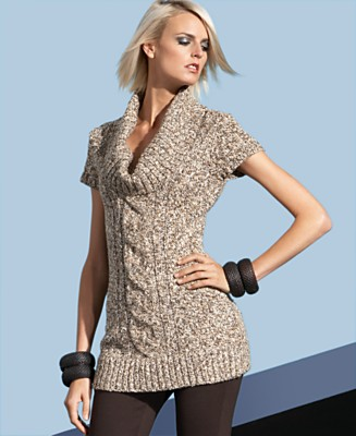 INC International Concepts Sweater, Short Sleeve Cowl Neck Tunic - Under $50 Sweaters - Women's  - Macy's