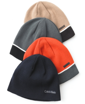 Calvin Klein Hat, Reversible Knit Cotton