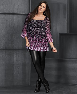 INC International Concepts Plus Size Tunic &  Liquid Leggings :  full figure fall trends 2009 plus size plus sizes