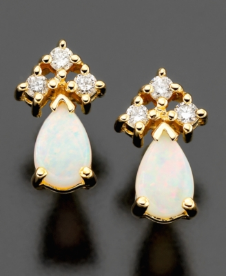 14k Gold Earrings, Opal (1/4 ct. t.w.) & Diamond (1/8 ct. t.w.)