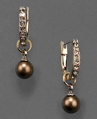 Monet Earrings, Bronze Glass Pearl Drop