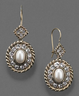 Monet Earrings, Glass Pearl and Crystal Accent Drop