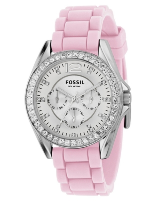 Fossil Watch, Women's Pink Silicone Strap
