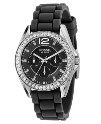 Fossil Watch, Women's Black Silicone Strap ES2345