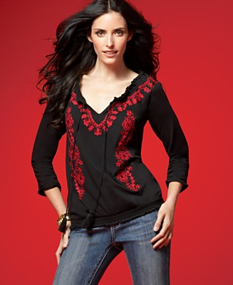 INC International Concepts Top, Long Sleeve Embroidered Peasant - Tops - Women's  - Macy's