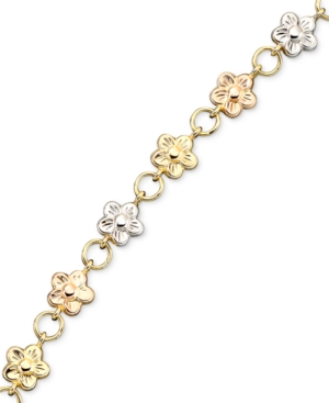 14k Gold over Sterling Silver and Sterling Silver Bracelet, Bonded Flower Charm