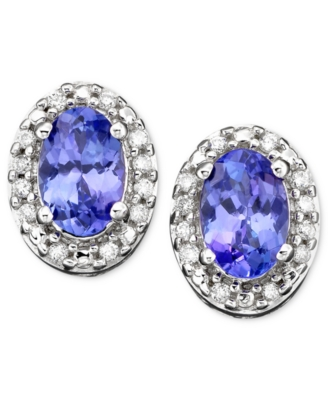 14k White Gold Earrings, Tanzanite (3/4 ct. t.w) and Diamond (1/10 ct. t.w.)