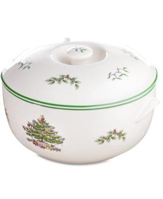 Christmas Tree Round Covered Casserole Dish