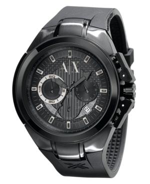 AX Armani Exchange Watch, Men's Chronograph Black Rubber Strap 45mm AX1050