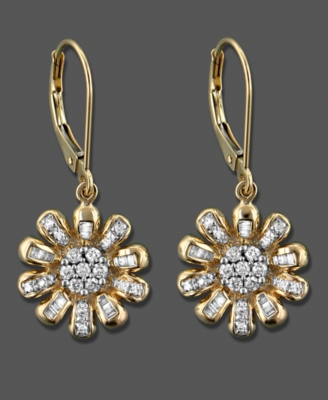 14k Gold Earrings, Diamond Circle Drop (1/4 ct. t.w.)