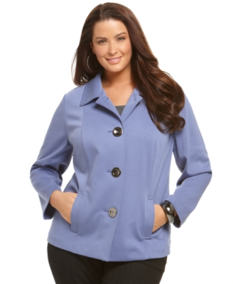 JM Collection Plus Size Jacket, Ponte Knit Four Button