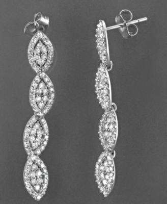 14k White Gold Earrings, Diamond Marquee (1 ct. t.w.)