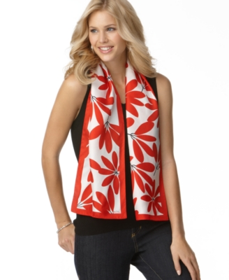 Echo Scarf, Silk Graphic Floral