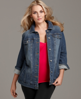 Style&co. Plus Size Jacket, Denim Rhinestone Buttons