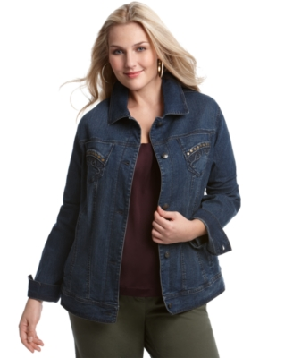 Charter Club Plus Size Jacket, Denim with Studded Pockets