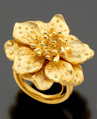 Kenneth Jay Lane Ring, Satin Goldtone Flower