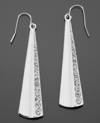 GUESS Earrings, Silvertone Crystal Accented Drop
