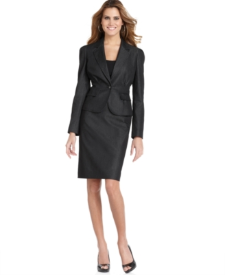 Nine West Suit, Stretch Denim Midnight Jacket & Skirt