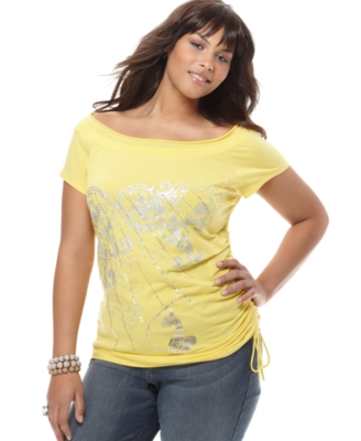 Baby Phat Plus Size Top, Foil Print Short Sleeve Drawstring