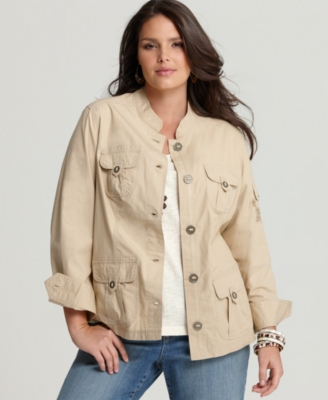 Tommy Hilfiger Plus Size Jacket, Ripstop Five Pocket - Outerwear