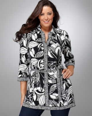Alfani Plus Size Tunic, Three Quarter Sleeved Printed with Belt