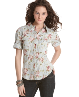 Fire Top, Floral Print Snap Front Shirt