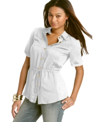 Baby Phat Top, Button Down Collared Shirt