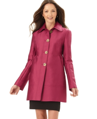 Kenneth Cole Coat, A-Line Cotton Sateen with Pleats - Outerwear