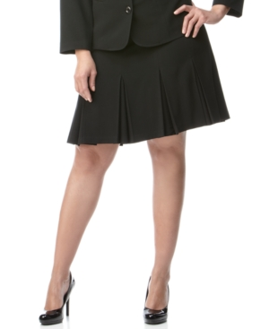 Agb Plus Size Black Stretch Suiting Pleated A-Line Skirt