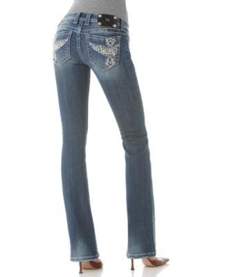 Miss Me Jeans, Bootcut Whip Stitch Angel Wings Vintage Wash - Miss Me