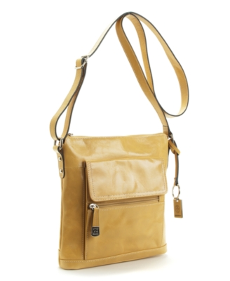 Giani Bernini Handbag, Glazed Leather Crossbody Bag - Shoulder Bags